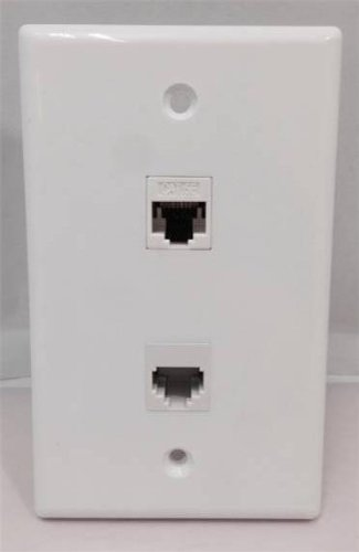 CERTICABLE CUSTOM DESIGNED WHITE SINGLE GANG WALL PLATE - CAT5E RJ45 ETHERNET + RJ11 TELEPHONE TWO PORT FACE PLATE ()