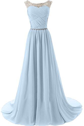 Abendkleider Traeger Sunvary Damen Mutterkleider Elegant Partykleider Rund Neu Steine Hellblau Lang Chiffon