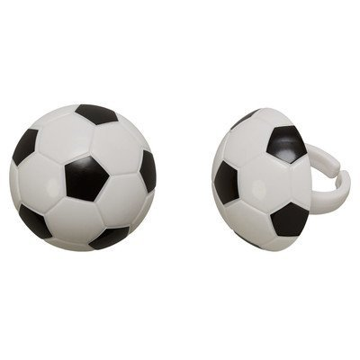 Ball Topper - Soccer Ball Cupcake Rings - 24 pc