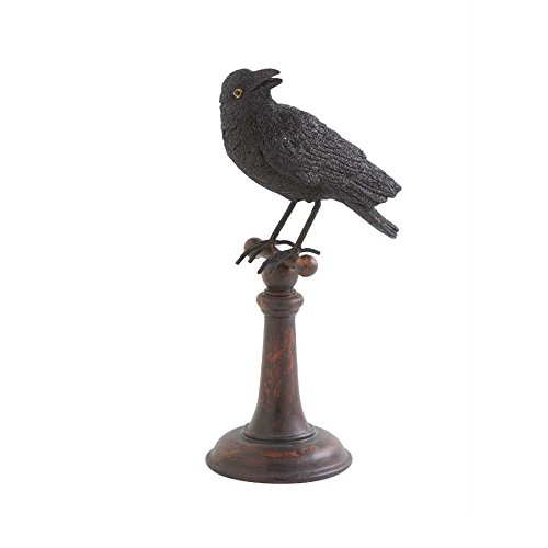 Black Crow Finial on Pillar Halloween Decor (Pumpkin Finial)