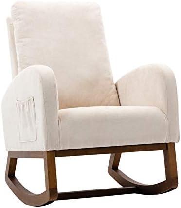 UHBGT Upholstered Rocking Chair Lounge Chair Rocking Armchair Mid-Century Fabric Rocker