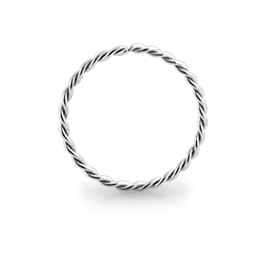 14KT Solid White Gold 22 Gauge (0.6MM) - 5/16 (8MM) Length Seamless Continuous Twister Hoop Nose Ring Nose Jewelry ()