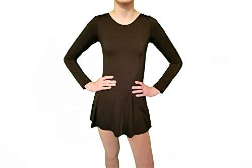 Ice Figure Skating Dance Practice Dress Girls (Black, 12)