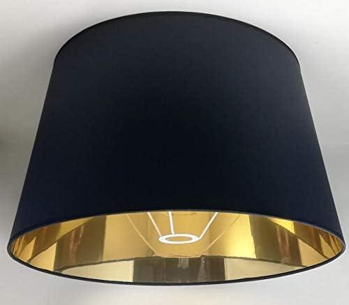 Stehlampe Handgefertigt Stoff mit Goldfutter f/ür Tischlampe 50 cm Schwarzer Lampenschirm