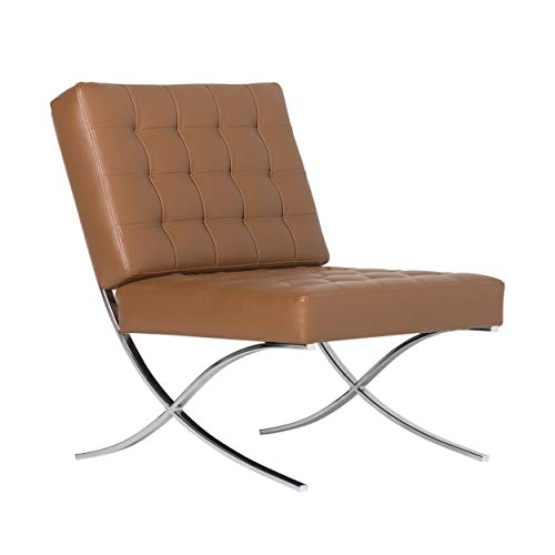 Studio Designs Home Modern Atrium Accent Chair Lounge Chair for Living Room, Bedroom, Bonded Leather, Caramel Brown, 72031
