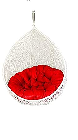 Hindoro Beautiful Hanging White Colour Swing with Red Cushion