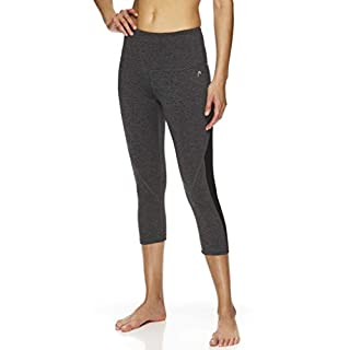 HEAD Women's High Waisted Capri Workout Leggings - Crop Activewear Gym & Running Pants - Face Off Charcoal Heather, X-Small