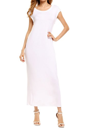 Meaneor Women's Casual Short Sleeve Plain Long Dress White XXL ()
