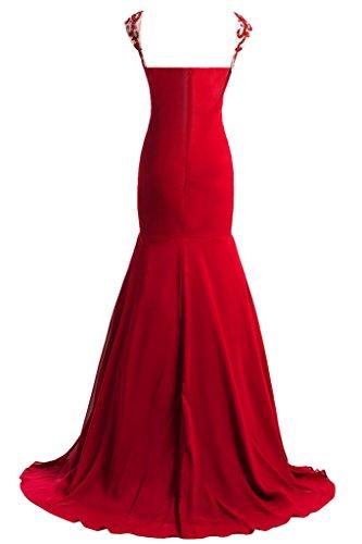 Damen amp;Tuell Abendkleid Elegant Promkleid Festkleid Mermaid Rot Lang Chiffon Ivydressing dHRXxd