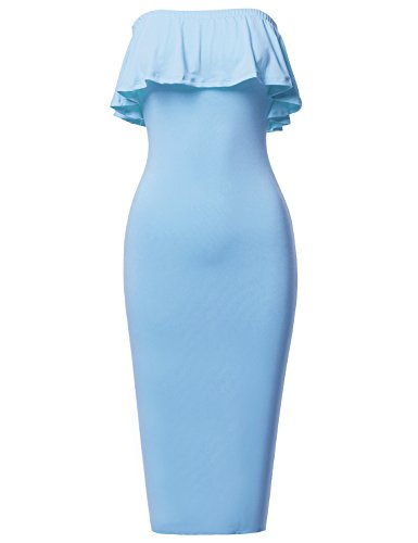 Band Tube Dress (Soft Stretch Solid Ruffle Strapless Tube Midi Bodycon Dress Blue Size L)