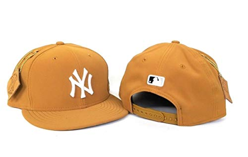 (New York Yankees Patched Team Hook Adjustable Snapback Hat Timberland Tan)