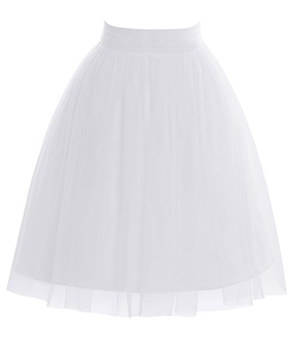 Dasior Women's A Line Short Mini Tulle Skater Skirt Tutu Party Overlay Skirt Large White]()