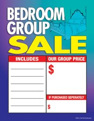 "C80BED Furniture Bed Room Group Sale - Large Price Cards - Sale Tags - 8 1/2"" x 11"" (100 Pack) Business Store Signs"