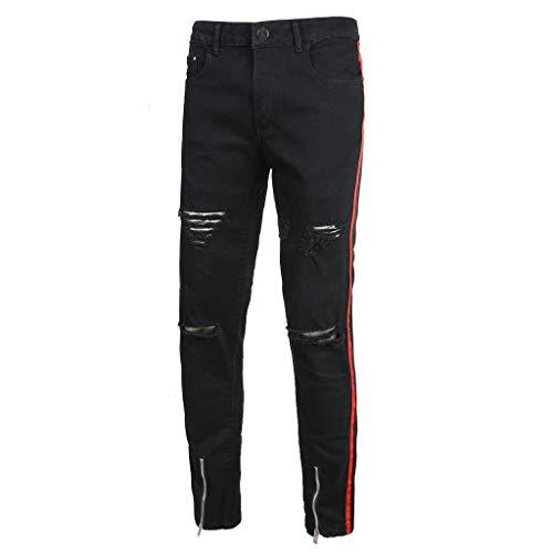 Mens Fashion Black Zipper Stretch Denim Pants Slim Fit Jeans Trousers, MmNote