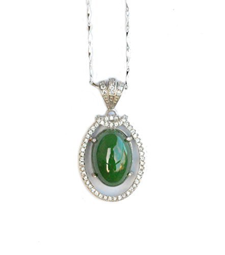 Bella Jade Pendant Necklace with Large Green Nephrite Jade Cabochon on Sterling Silver 18