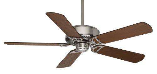 (Casablanca 59511 Panama DC 54-Inch 5-Blade Ceiling Fan, Brushed Nickel with Walnut/Burnt Walnut)