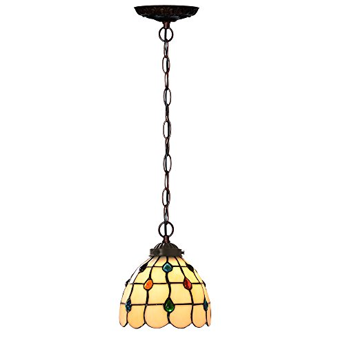 Bieye L10147 7-inches Jewels Tiffany Style Stained Glass Ceiling Pendant Fixture with 1-Light (Multi-colored)