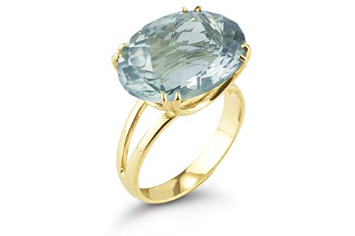 I REISS 14K Yellow Gold 8.5ct TGW Green Amethyst Ring
