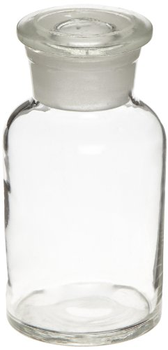 (American Educational Clear Flint Glass 250mL Wide Mouth Reagent Bottle with Ground Glass Stopper (Bundle of 5))