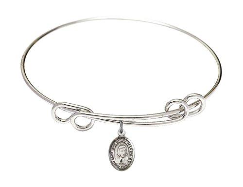 DiamondJewelryNY Double Loop Bangle Bracelet with a St. John Baptist de la Salle Charm.