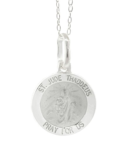 Peermont 925 Sterling Silver St. Jude Thaddeus Medallion Necklace in 18 inch Diamond Cut cable chain- Made In (Cut Medallion)