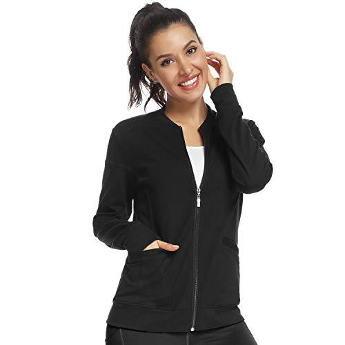Nurse Jacket,Women's Zip Up Scrub Jacket Black