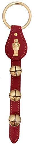 Made in USA Belsnickel Nutcracker Charm Red Leather Sleigh Bell Door Hanger (Bell Nutcracker)