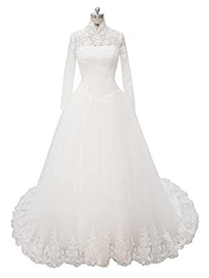 Melantha Women's Long sleeves Lace Applique Wedding Dress Beading High Neck Tulle Bridal Gown