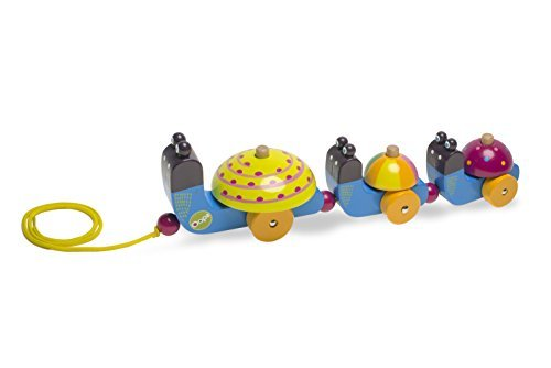 Oops Mr Mushee Happy Parade Wooden Pull Along Toy in Vibrant and Super Cute Snail Design by Oops by Oops!