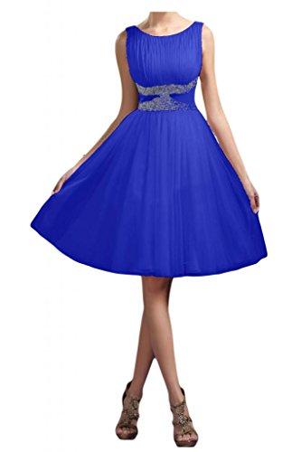 Toscana novia delgada de cuello redondo largo hasta la rodilla de la dama de honor vestidos de noche vestidos de fiesta corto tul de cóctel azul real