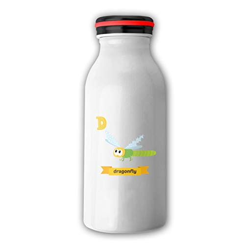 Dragonfly Alphabet - Dragonfly D Letter Cute Children Animal Alphabet Flask Double Wall Vacuum Insulated Stainless Steel Water Bottle Stainless Steel Milk Bottle Keeps Your Drink Hot & Cold