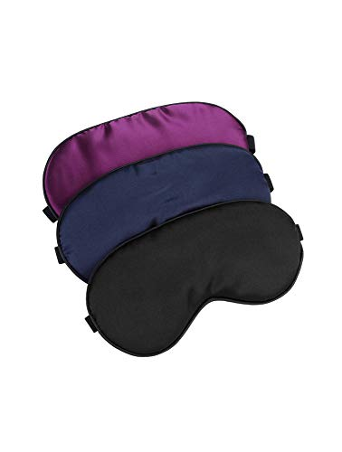 Hochoek Silk-Sleep-Mask Eye-Mask Eye-Cover Eyeshade - 100% Silk Soft Adjustable Strip Eye Cover(Black+Dark Blue+Purple)