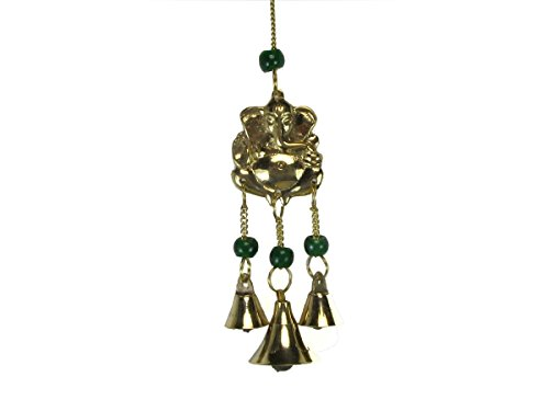 Hindu Brass Ganesh Figure with Beads and 3 Bell Wind Chime, 9