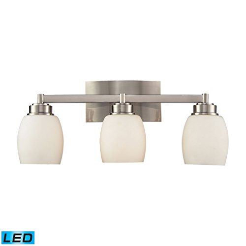 Northport 3-Light Vanity In Satin Nickel - LED, 800 Lumens (2400 Lumens Total) With Full Scale Dimming Range, 60 Watt (180 Watt Total)Equivalent , 120V Replaceable LED Bulb Included
