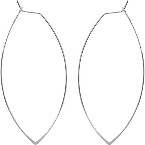 Marquise Threader Big Hoop Earrings - Lightweight Oval Leaf Statement Drop Dangles, 925 White - 3 inch, Sterling Silver-Electroplated, Hypoallergenic, by Humble Chic NY ()