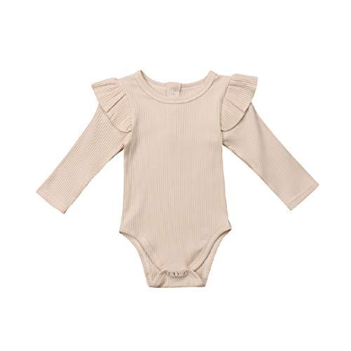 Seyurigaoka Newborn Baby Girl Solid Onesies Basic Plain Rib Stitch Long Sleeve