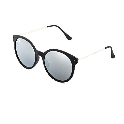 REMBRANDT Gafas redondo TWIG sol mujer Plata espejo de Negro 7qFrFwItx