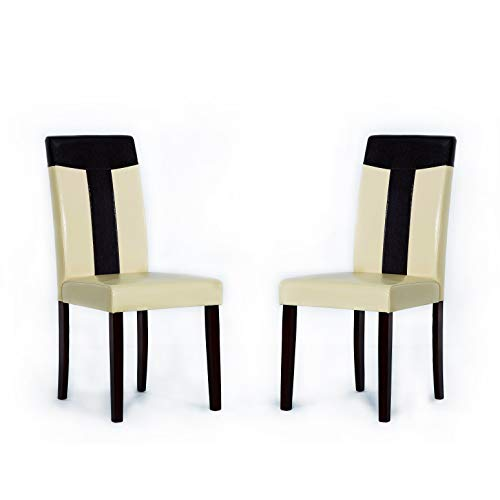 Warehouse of Tiffany Set of 2 Leather Oak Dining Chair 24091411 Chair