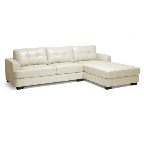 Baxton Studio Dobson Leather Modern Sectional Sofa, Cream