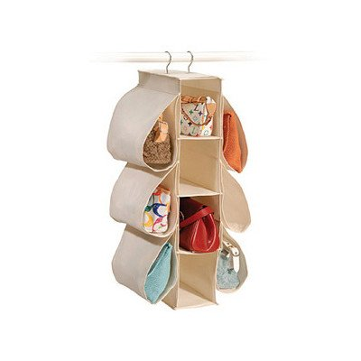 Richards Homewares Hanging Handbag Organizer-Canvas/Natural - Canvas Closet Organizers