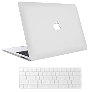 Enthopia MacBook Pro 16″ A2141 (2019), Plastic Hard Case & Keyboard Cover with Logo Cut (White)