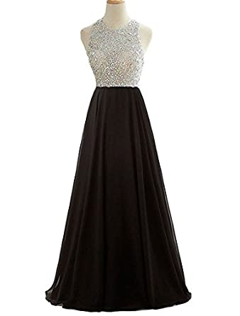 HEIMO 2017 Womens Open Back Sequined Evening Party Gowns Beading Prom Formal Dresses Long H219