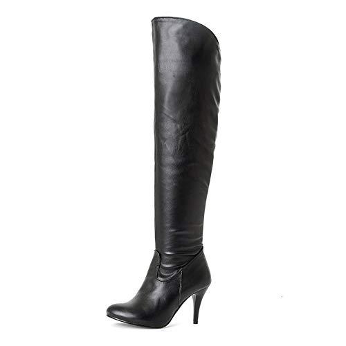 HAOLIEQUAN Frauen Overknee Stiefel Größe 34-50 Lace Up Stickerei Schuhe Damenschuhe Runde Toe Dicker Absatz Weibliche Concise Schuhe Stickerei schwarz 1 9c2993