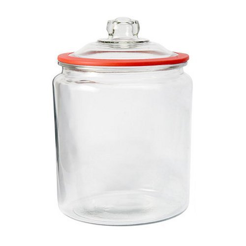 Anchor Hocking Heritage Hill Glass 1 Gallon Storage Jar with Red Silicone Gasket