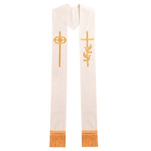 BLESSUME Pastor Wedding Embroidery Stole]()