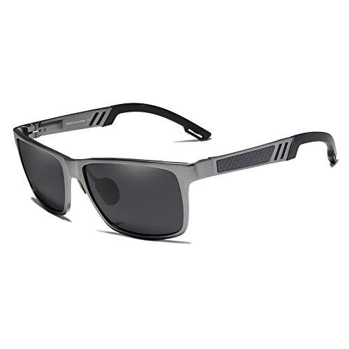 - KINGSEVEN Men's Retro Square Polarized Sunglasses Metal Frame Al-Mg Ultra Light (Gray)