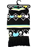 Outer Rebel Fashion Scarf and Beanie Set- Pastel Skull/Heart Harlequin
