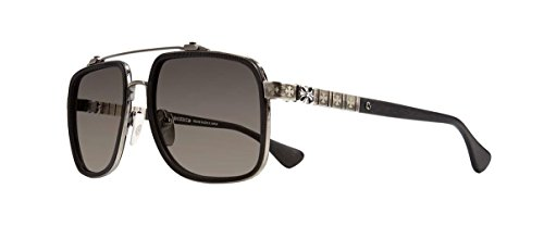 Chrome Hearts - Hardman - Sunglasses (Matte Black/Antique Silver-Matte Carbon Fiber-Plastic, Dark Gray Gradient Silver Flash - Chrome Sunglasses Heart