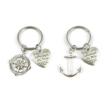 2 Anchor And Compass You Are Always In My Heart Necklace or Keychains Best Friends BFF Sisters Couples