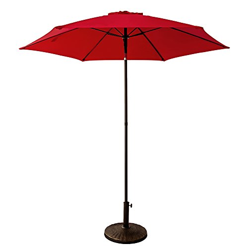 FLAME&SHADE 7ft 5in Round Outdoor Patio Market Umbrella with Push Button Tilt, Red (Round Table Umbrella Bistro)